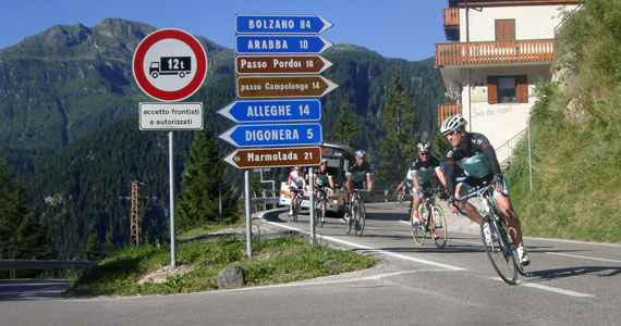 Classic Italian Climbs  - Topbike riders cycling the route to climb of The Marmolada