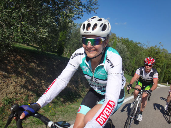 Annabelle Drew - turning over the legs with Topbike during the Worlds in Tuscany