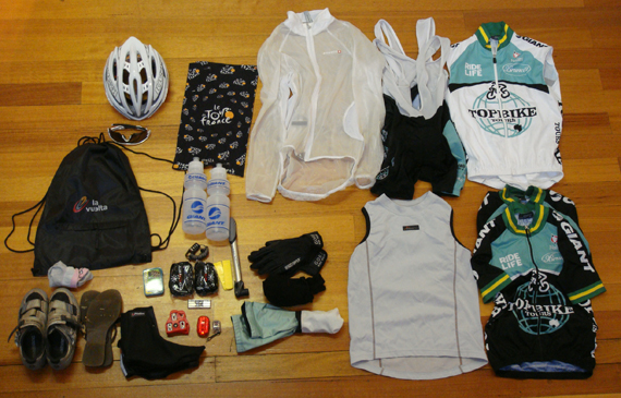 Typical on bike necessities required for a Topbike Tour